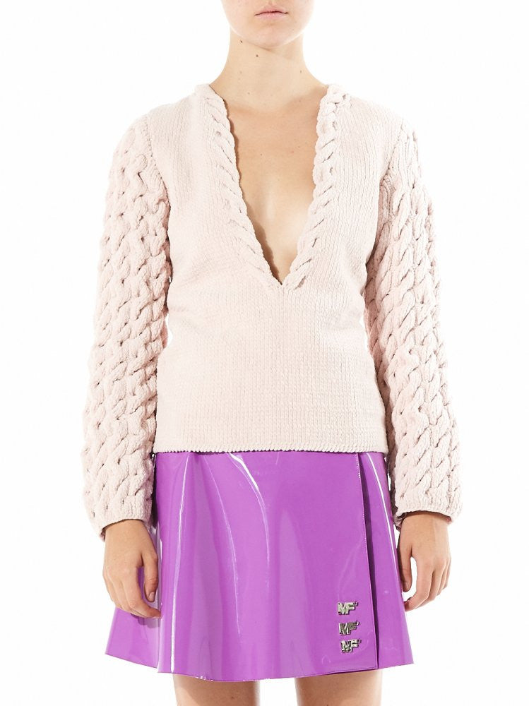 Soft Cable Knit Deep Neck Jumper (EIGHTTOP PINK) - H. Lorenzo