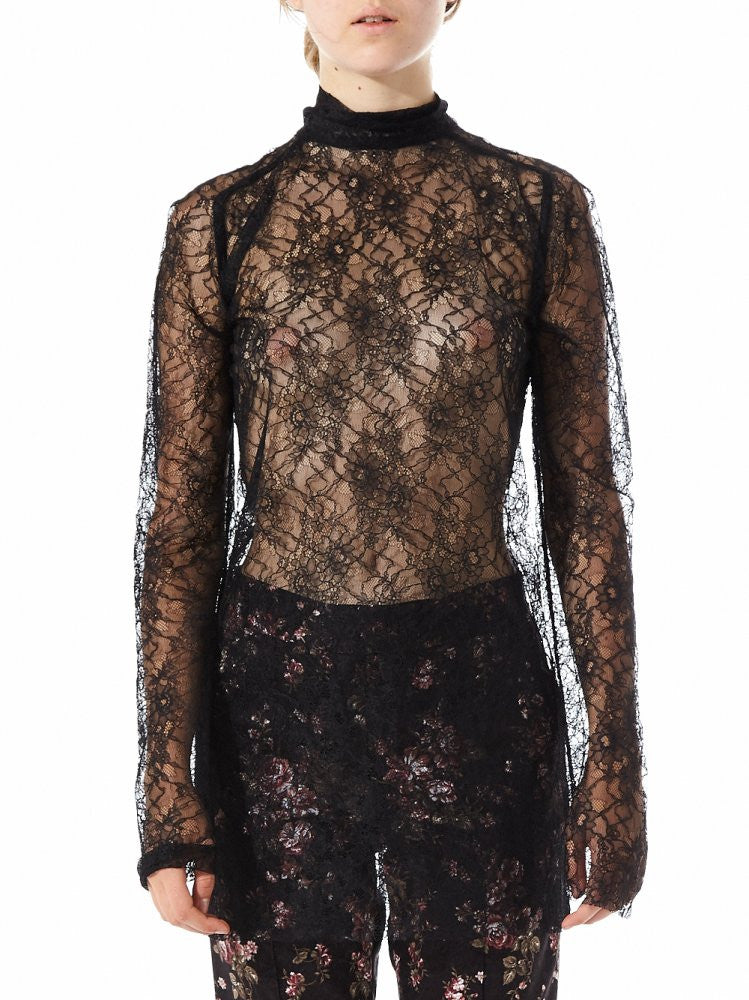Sheer High Neck Lace Top (US-SC9-WTOP-002A-BLK) - H. Lorenzo