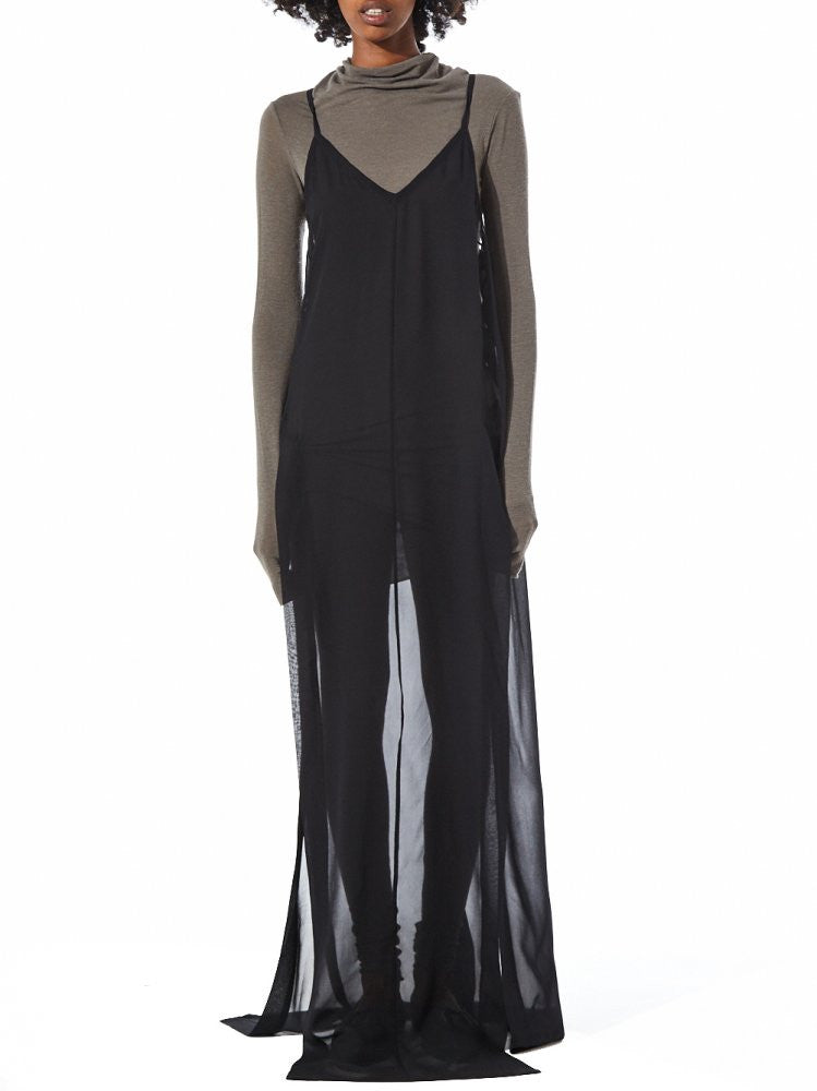 Maxi Strap Dress with Side Slits (23AY226/22 BLACK) - H. Lorenzo