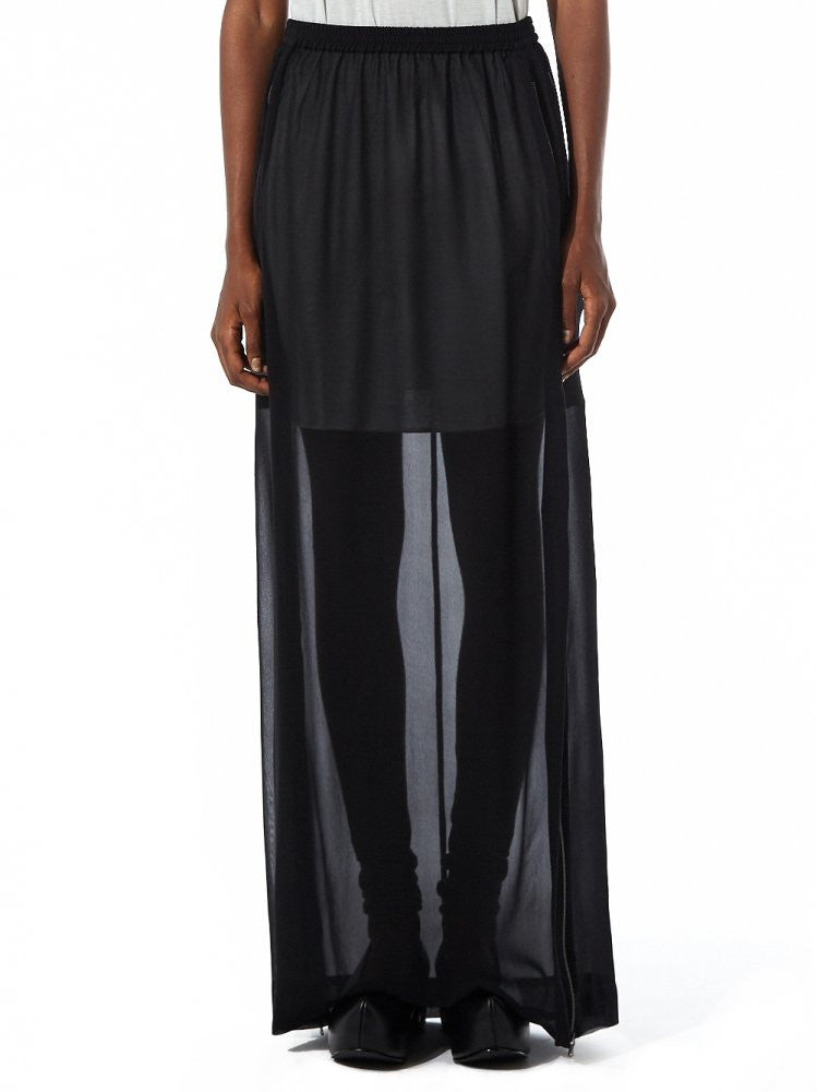 Sheer Maxi Skirt With Side Slits (23GY228/22 BLACK) - H. Lorenzo