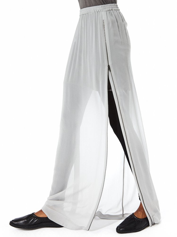 Sheer Maxi Skirt With Side Zip Slits  (23GY228/22 ICE) - H. Lorenzo