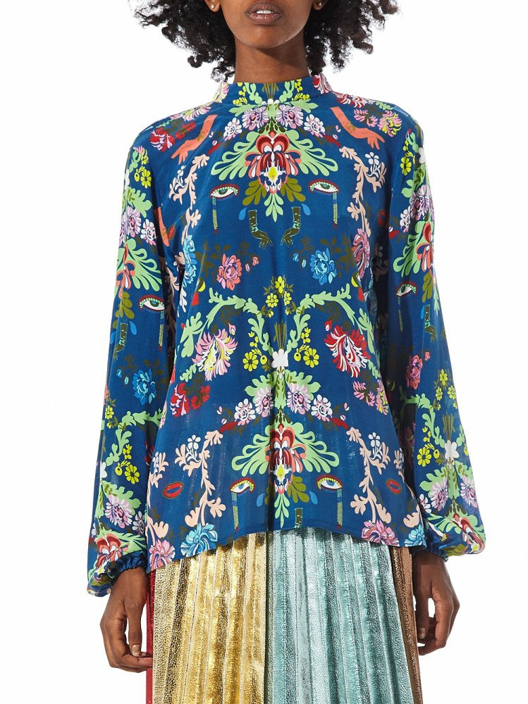 High Neck Top With Puff Sleeve (B2182 BLUE/MULTI) - H. Lorenzo