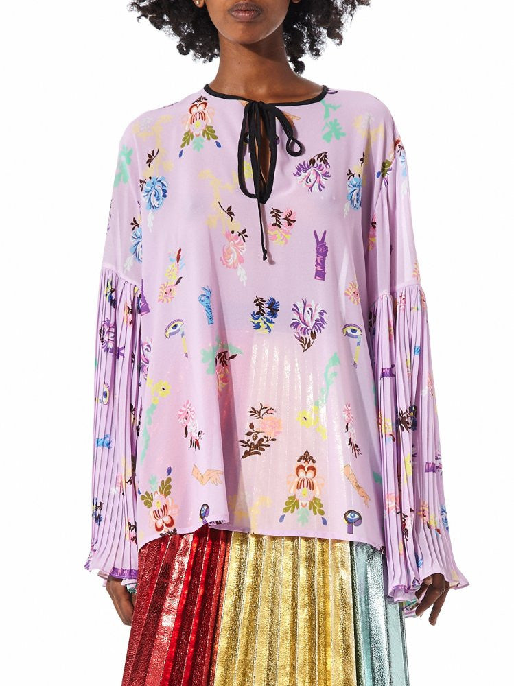 Loose Blouse With Pleated Bell Sleeves (B2254 PINK/MULTI) - H. Lorenzo