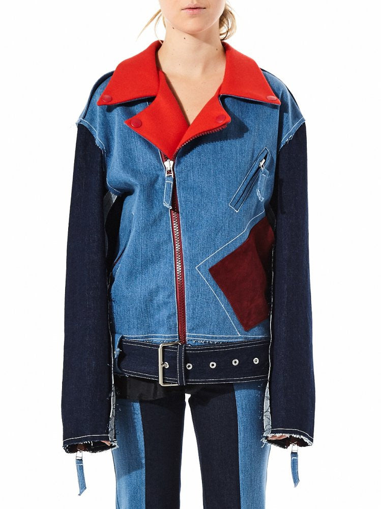 Oversized Denim Biker With Contrast Details (FWJ50103-DENIM) - H. Lorenzo