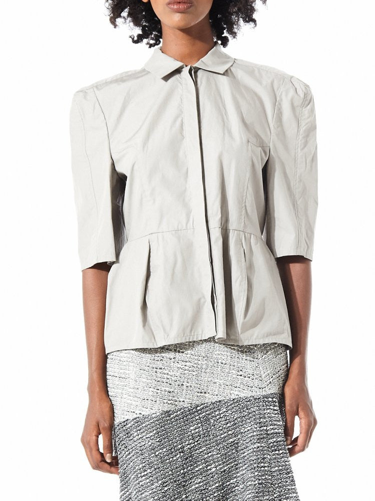 Structured Shoulder Short Sleeve Oxford (16AAR021 GRAY) - H. Lorenzo