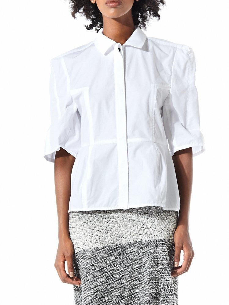 Structured Shoulder Short Sleeve Oxford (16AAR021 WHITE) - H. Lorenzo