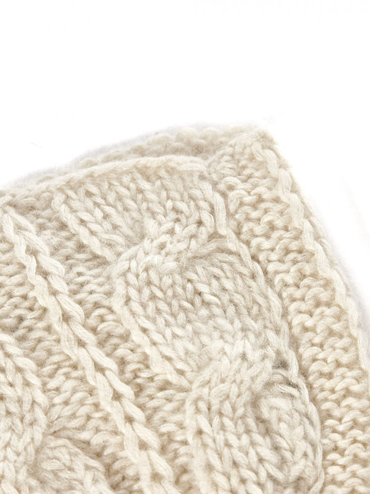 Cashmere Cable Knit Cap (61-02 IVORY) - H. Lorenzo