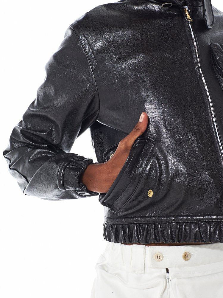 High Neck Leather Jacket (JLF-1610 CAVIAR) - H. Lorenzo