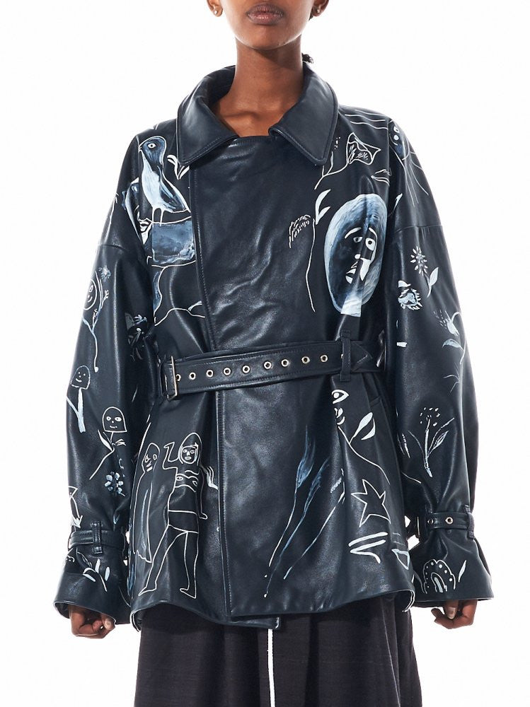 Oversized Painted Biker Jacket (CBAW1600 BLACK) - H. Lorenzo