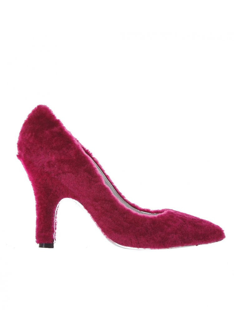 Shearling Heel With Metallic Sole (CANDY SHEARLING FUSHIA)