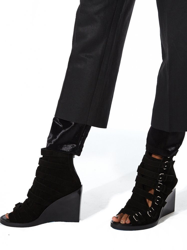 Cropped Trouser With Velvet Cuff (B8 BLACK) - H. Lorenzo