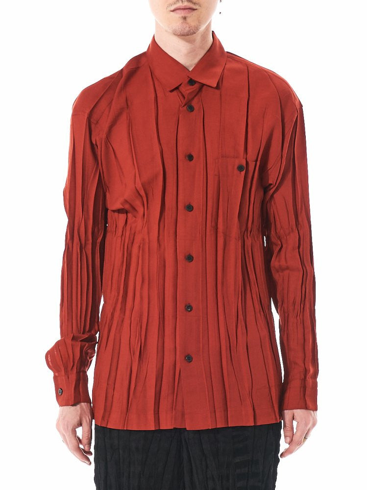 Pleated Button-Up Shirt (ME68FJ080-24) - H. Lorenzo