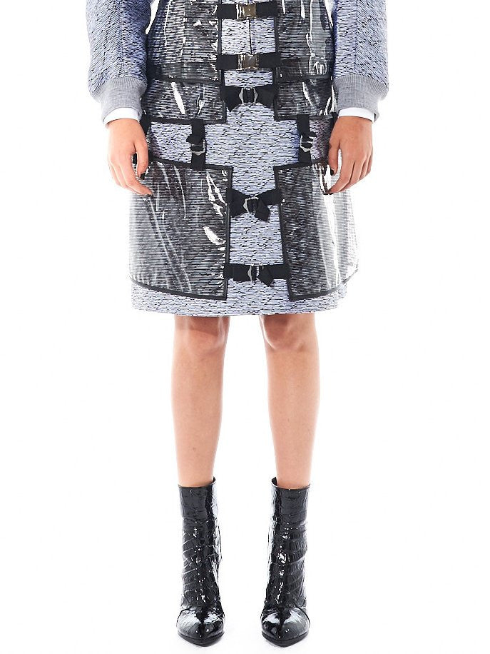 A-Line Pattern Skirt With Exterior Panelling (16AARAC12B GRAY) - H. Lorenzo