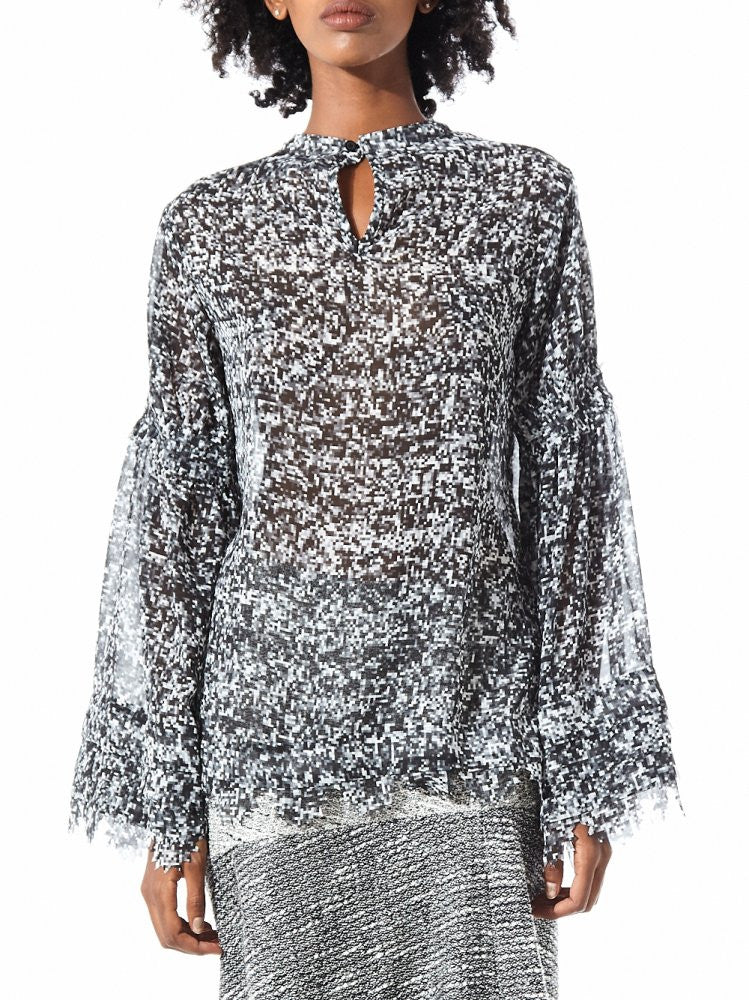 Serrated Bell Sleeve Blouse (16AARC05A GRAY) - H. Lorenzo