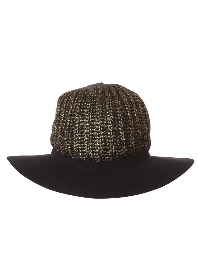 Metallic Knit Crown Fedora (6274SDDLA 06 BLACK) - H. Lorenzo