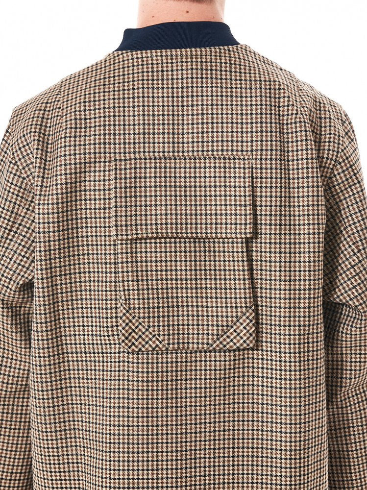 Micro-Gingham Pouch Pocket Coat (AW16CWLBJ BROWN CHECK) - H. Lorenzo