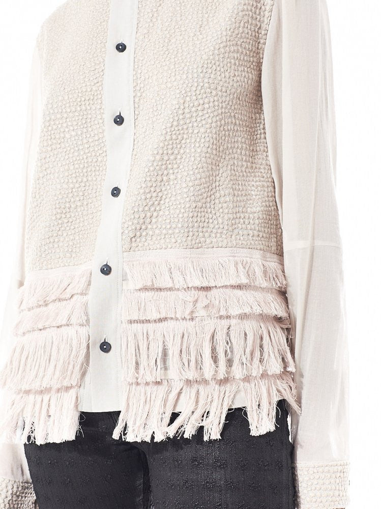 Fringe Detail Button Up (DK10-03-B02 BEIGE) - H. Lorenzo