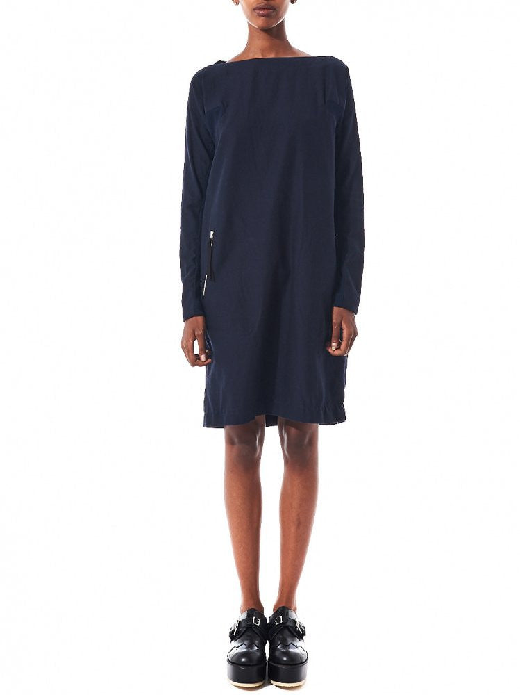 Ribbed Panel Long Sleeve Dress (DK10-04-002 NAVY) - H. Lorenzo