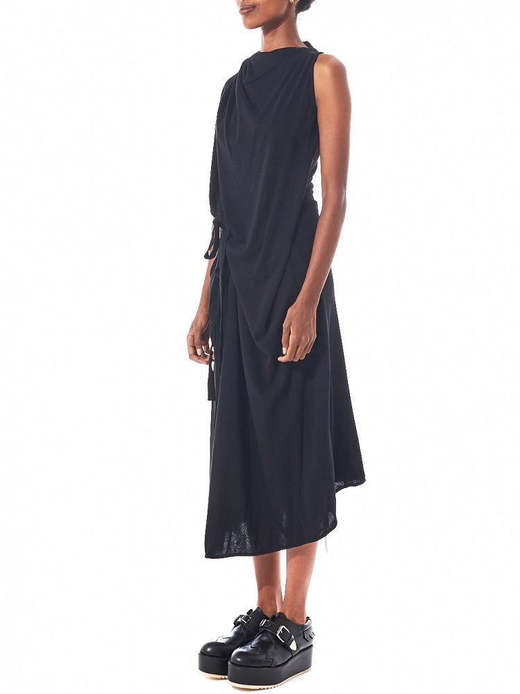 Draped Sleeveless Dress (DK10-CS03-D01 BLACK) - H. Lorenzo
