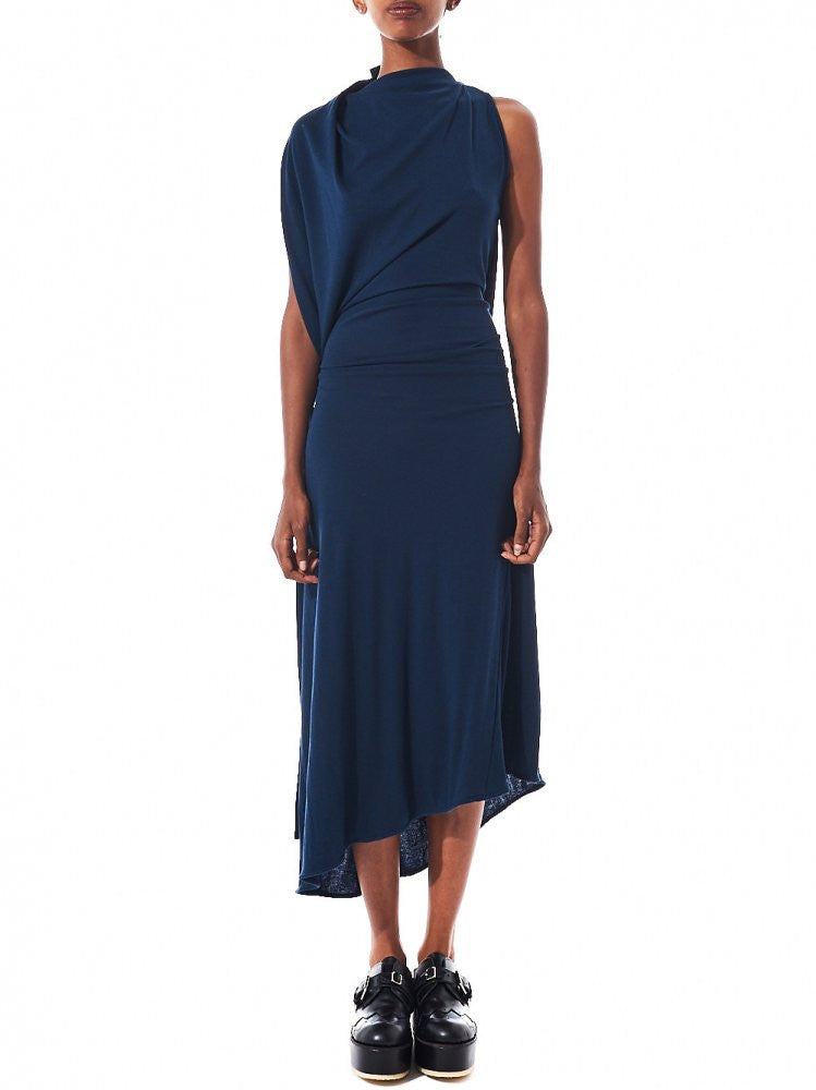 Draped Sleeveless Dress (DK10-CS03-D01 NAVY) - H. Lorenzo