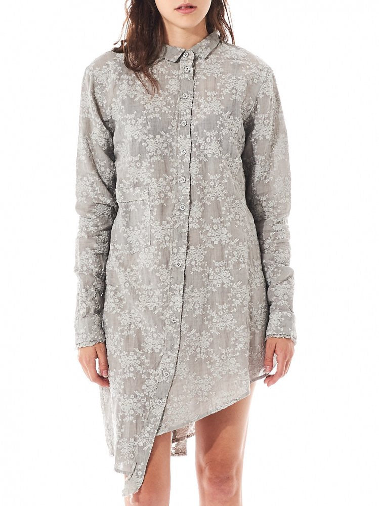 Asymmetric Jacquard Shirt Dress (2160937 OYSTER) - H. Lorenzo