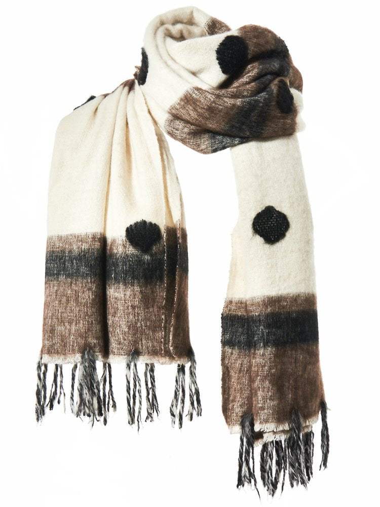 Spotted Knit Scarf (SPOTTED TAPA NAT.BROWN/WHT/BLK) - H. Lorenzo