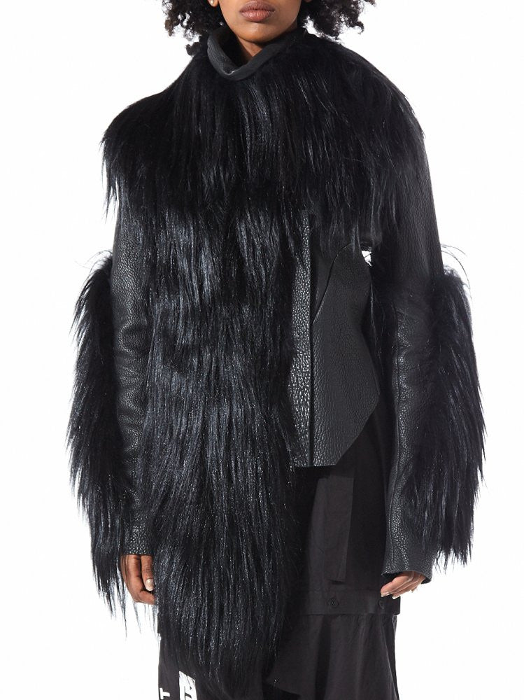 Fur Panel Leather Jacket (628890 BLACK) - H. Lorenzo