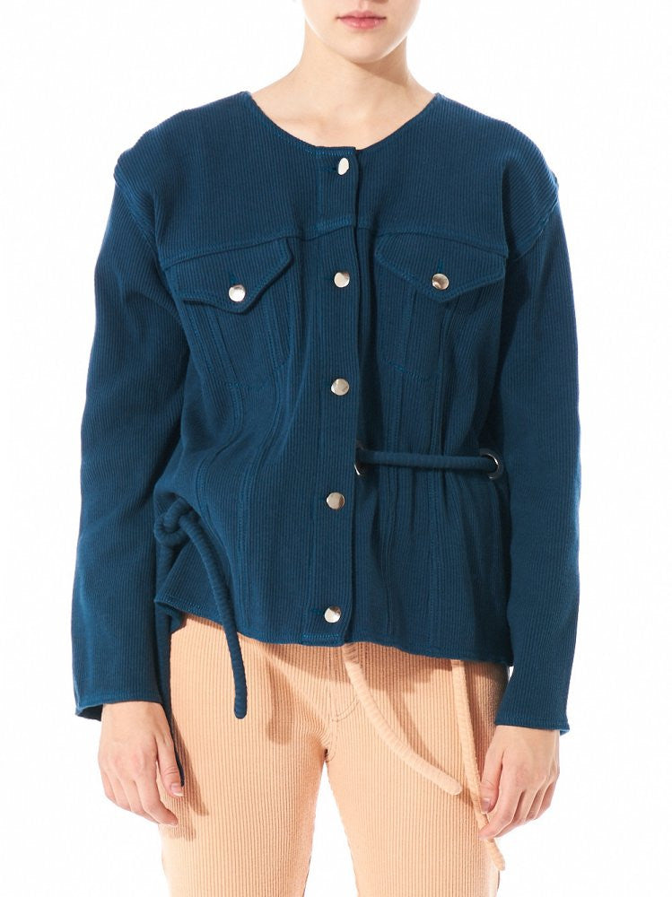 Ribbed Snap Enclosure Jacket (MAXI RIB JACKET BLUE) - H. Lorenzo