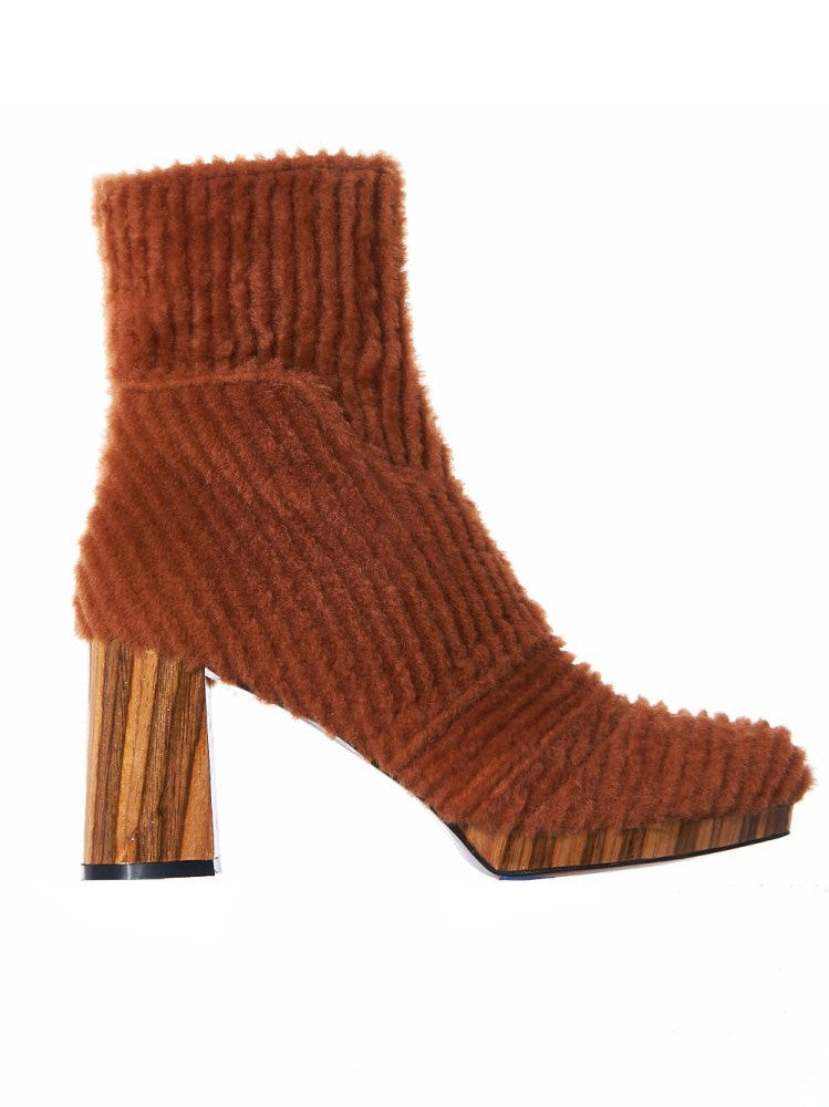 Shearling Cord Spool Heel (NANCY SHEARL CORD/CAMEL/WOOD)