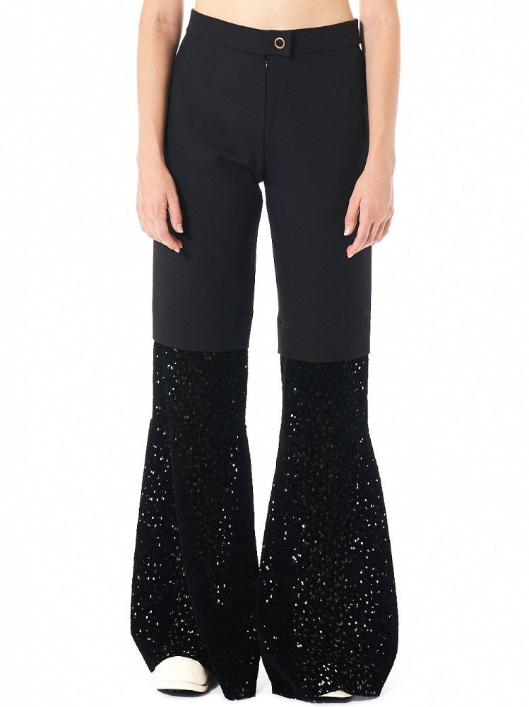 Blocked Textural Flare Trouser (10.86010 BLACK) - H. Lorenzo