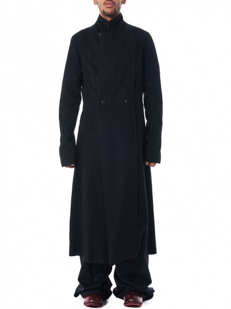 Double Breasted Overcoat (C123- WH1 BLACK) - H. Lorenzo