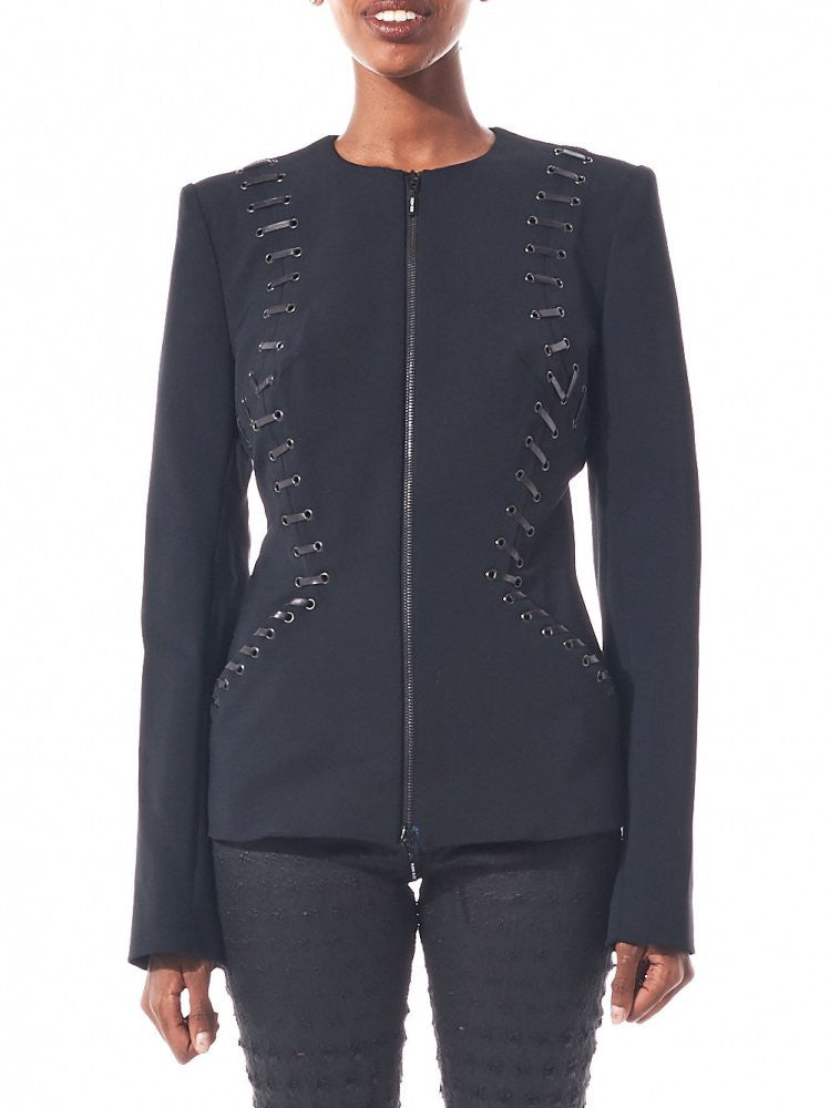 Structured Front-Zip Blazer (P120 V22 999/BLACK) - H. Lorenzo