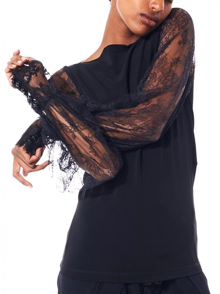 Lace Sleeve Top (S188 S88 999/BLACK) - H. Lorenzo