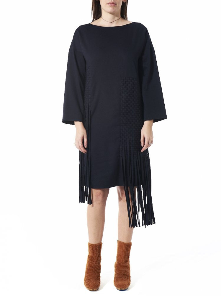 Long Sleeve Tassel Dress (AW2016-008B NAVY) - H. Lorenzo