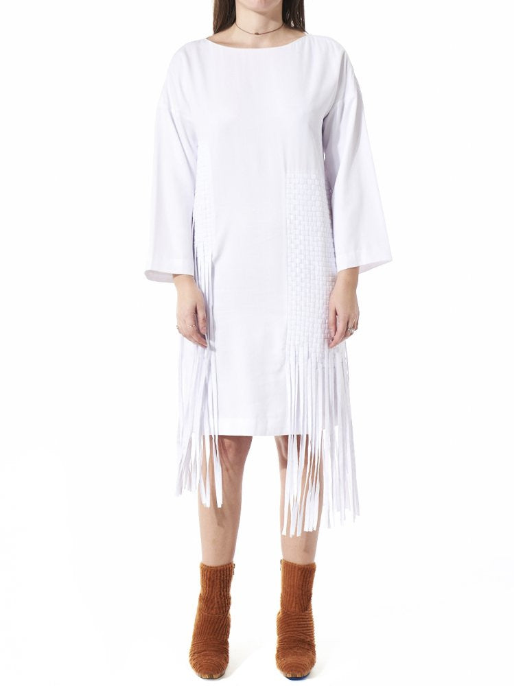 Long Sleeve Tassel Dress (AW2016-008B WHITE) - H. Lorenzo