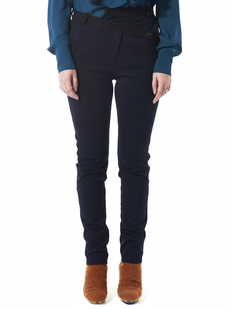 Off-Set Button Closure Cigarette Trouser (AW2016-076 BLACK/NAVY) - H. Lorenzo
