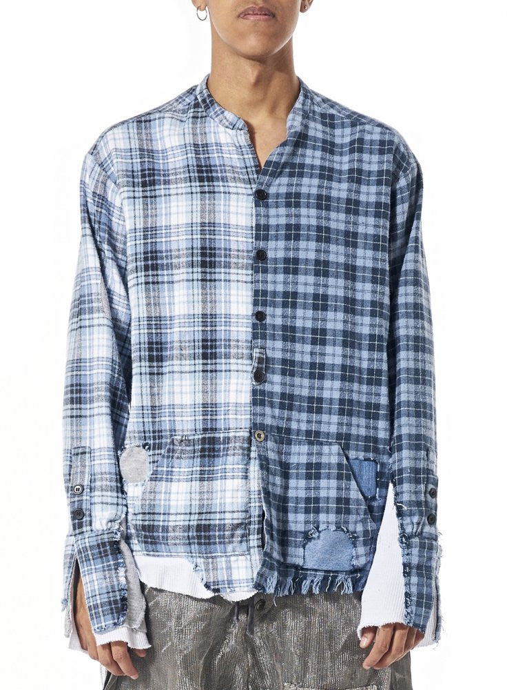 Deconstructed Plaid Patchwork Shirt (GLSHOP-M035 BLUE) - H. Lorenzo