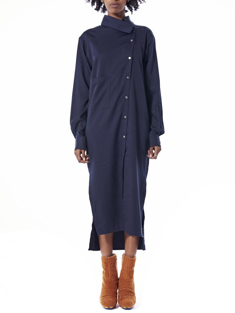 Offset Button Up Dress (AW2016-098B NAVY) - H. Lorenzo
