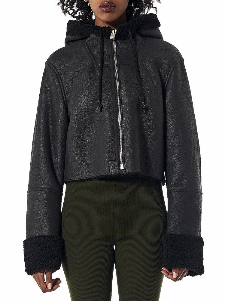 Cropped Hooded Shearling Flight Jacket (KW3W707-401 TRUE ONYX) - H. Lorenzo