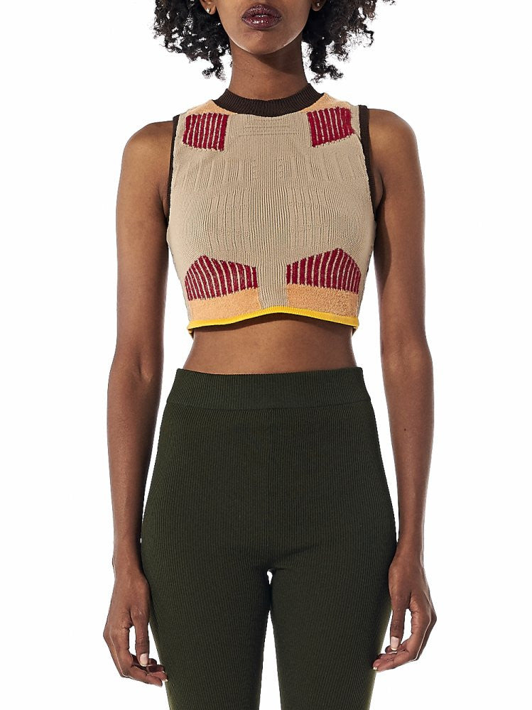 Graphic Knit Sleeveless Top (KW3W011-300) - H. Lorenzo