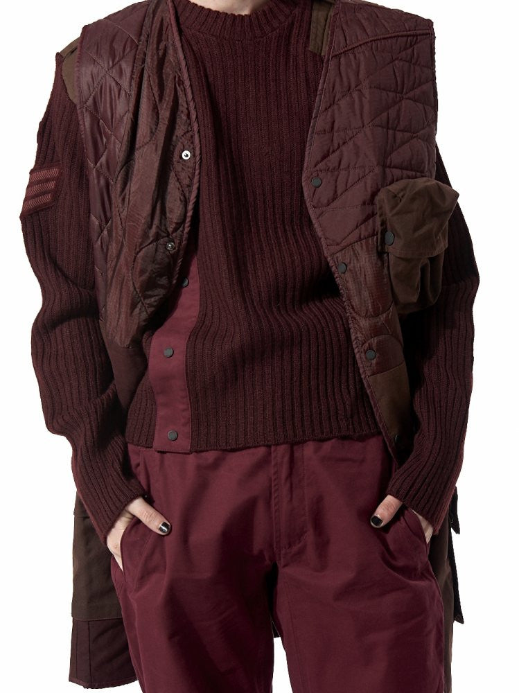 Layered Fisherman Knit Sweater and Assemblage Gilet (8279 O/D LAMA) - H. Lorenzo