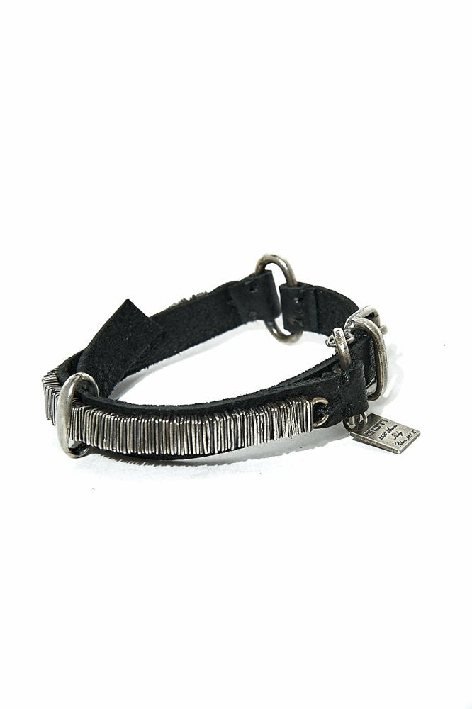 Stacked Metal Buckled Cuff (BR177 SILVER/LEATHER) - H. Lorenzo