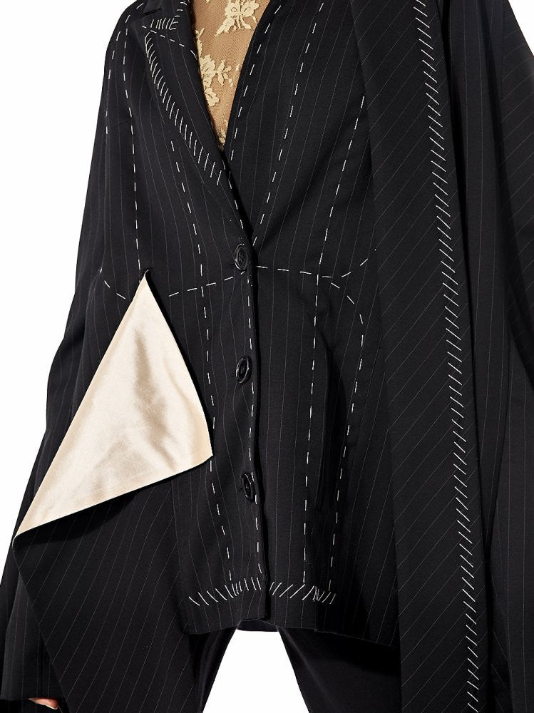 Draped Oversized Deconstructed Coat (AW16-131 AARON BLACK) - H. Lorenzo