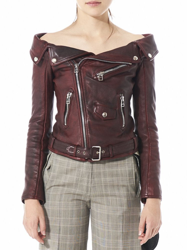 Dropped Shoulder Biker Jacket (W2250C00010 RED) - H. Lorenzo