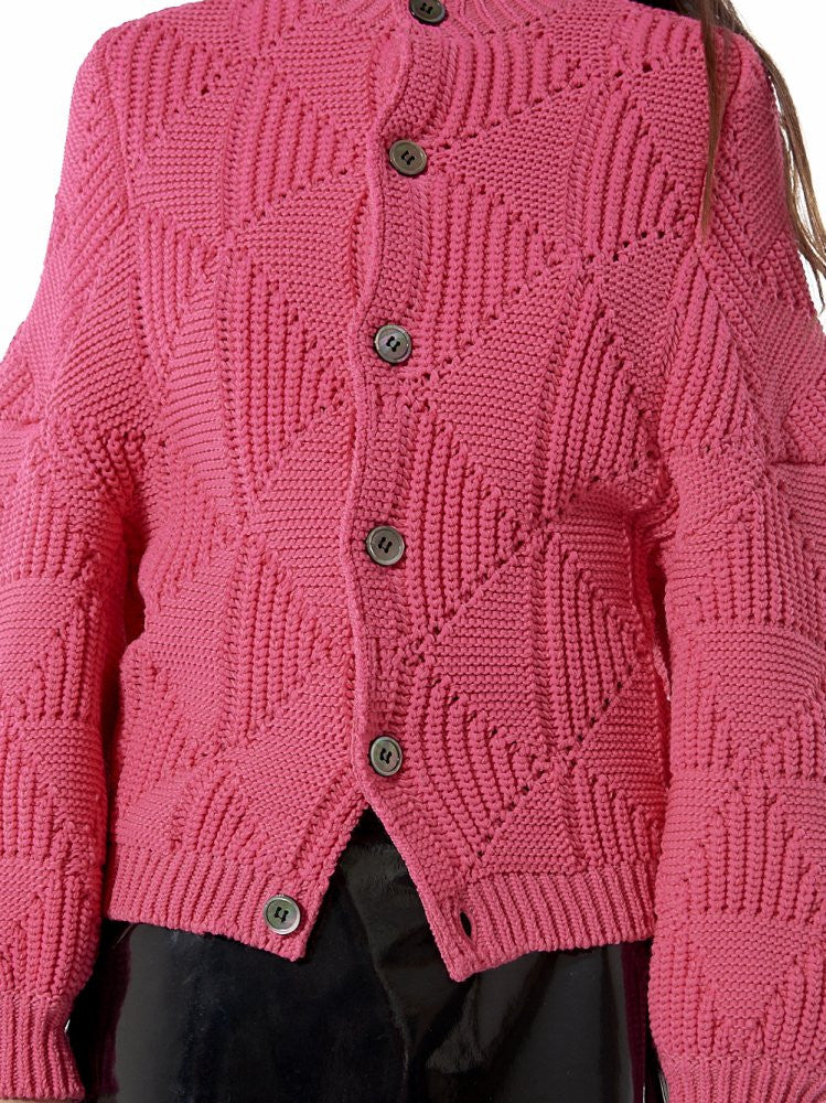 Chunky Diamond-Knit Cardigan (JR-N020-051-4) - H. Lorenzo