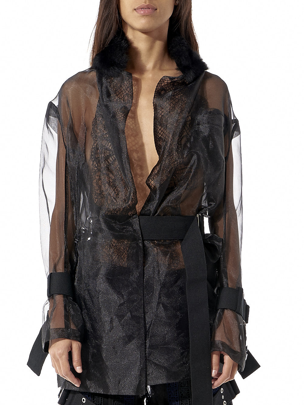 Sheer Belted Top With Fur Collar (16-02835 BLACK) - H. Lorenzo