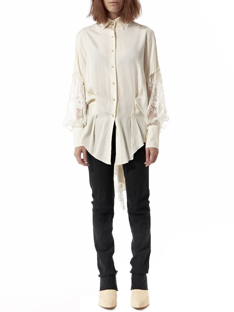 Ruched Lace Back Button Up (GKF-SD21 CREAM) - H. Lorenzo