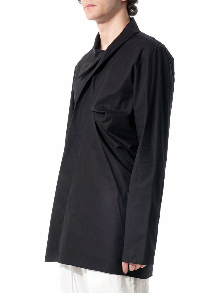 High-Collar Draped Shirt (16SSMSH07 BLACK) - H. Lorenzo