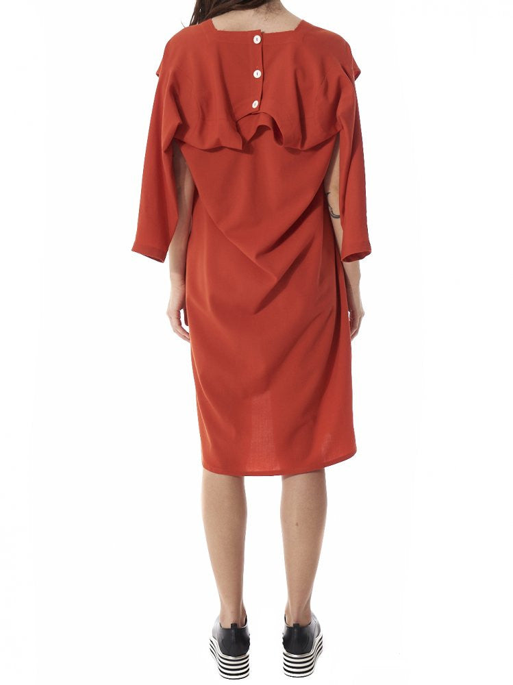 Deconstructed Button-Down Shirt-Dress (LSD VERMILLION) - H. Lorenzo