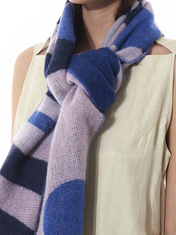 Color Block Woven Scarf (TIVOLI BLUE/WHITE STRIPE) - H. Lorenzo